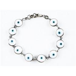 Estate 925 Silver Antique Bracelet, Ten Bezel Set