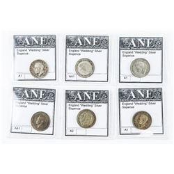 Lot (6) England Wedding Sixpence Silver Coins