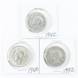 Lot (3) King George Silver 50 Cent Coins: 1940,194