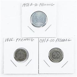 Group (3) 50 PFENNIG Coins 1876-1871-1958A