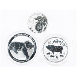 Group of (3) .9999 Fine Silver Coins: Koala, Snake