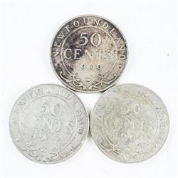 Group of (3) NFLD 925 Silver 50 cent Coins: 1904,