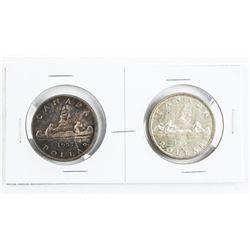 Pair 1957 Canada Silver Dollars (1 WL) and (REG WL