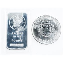 Lot (2) Silver Bar and Coin