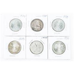 Lot (6) Germany - 1973 5 Deutsche Mark Coins
