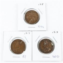 Lot (3) George Canada Large Cents: 1917, 1918, 191