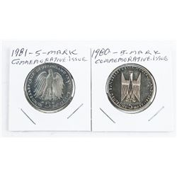 Lot (2) 5 MARK Commemorative Issue Coins
