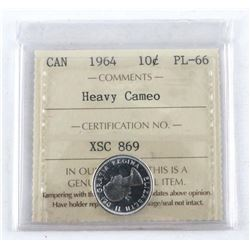 1964 Canada Silver 10 Cent PL-66. Cameo. ICCS