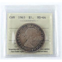 1963 Canada Silver Dollar. MS-64. ICCS.