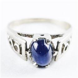 Estate 10kt White Gold Fancy Ring, Blue Star Sapph