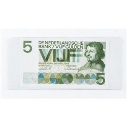 Netherlands 5 Guilden Banknote 1966 Choice AU. (CR