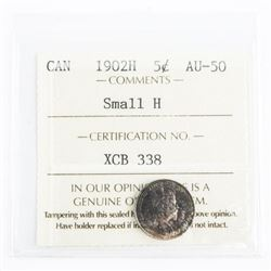 1902H Canada Silver 5 Cent AU-50 Small H (SXR) wit