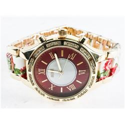 Ladies Custom Watch Roman Numbers - Floral Band