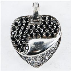 Estate .925 Silver Heart Pendant with Swarovski El