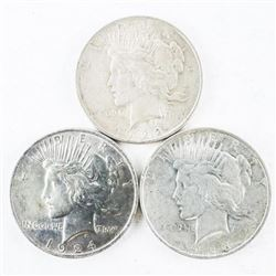 Lot (3) USA Silver Dollars: 1922, 1923 and 1924