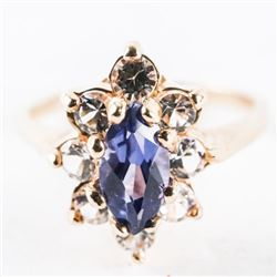 Ladies 10kt Gold Tanzanite Marquise Cluster Ring
