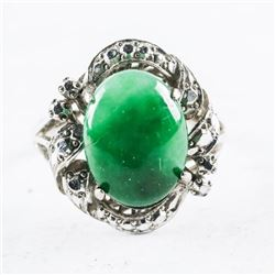 Estate Ladies 18kt White Gold Jade Ring, Oval Cabo
