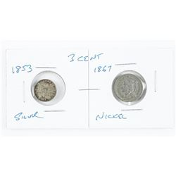 Lot (2) USA 3 Cent Coins: 1853 Silver and 1867 Nic