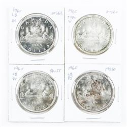 Group of (4) 1965 Canada Silver Dollars - 4 Types
