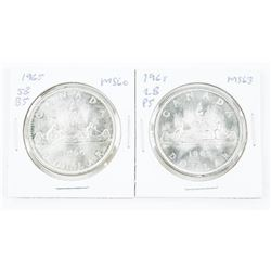 Lot (2) 1965 CANADA Silver Dollar SB/B and LB/P5 M