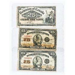 Group of (3) Dominion of Canada 25 Cent Notes, 190