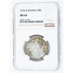 Canada 1916 Silver 50 Cents MS64. NGC. (EMER)