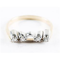 Estate 10kt Gold 4 Diamond Ring Size 6 1/4
