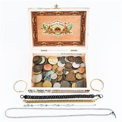Estate Toros Cigar Box with Coins - Jewels, Etc.