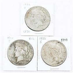 Lot (3) US Silver Peace Dollars: 1922, 1923, 1924.