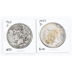 Lot (2) USA Silver Peace Dollars. 1922D, 1923D.