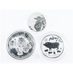 Lot (3) Collector Bullion .9999 Fine Silver Coins: