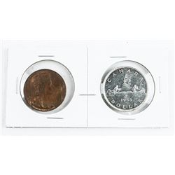 Lot 1953 Canadian Silver Dollar and Bronze Medal '