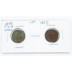 Lot (2) 1858 Flying Eagle and 1865 Indian Head Cen