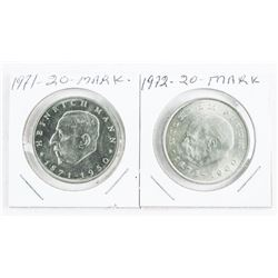 Lot (2) 1971-1972 20 Mark Coins (IE)