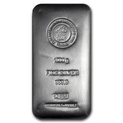 1000 Grams - .999 Fine Silver Hand Poured Bar.