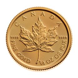 Royal Canadian Mint .9999 Fine Gold Maple Leaf. 1/4 Ounce. Collector Bullion.