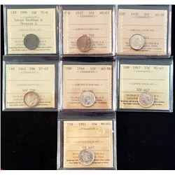 Lot of 7 Canadian Silver 10 Cents
