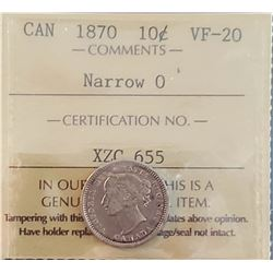 Canada 1870 Silver 10 Cents, Narrow 0, VF-20