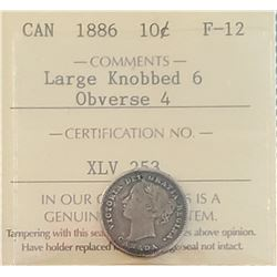 Canada 1886 Silver 10 Cents, Large Knobbed 6 Obverse 4, F-12