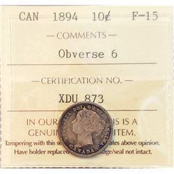 Canada 1894 Silver 10 Cents, Obverse 6, F15