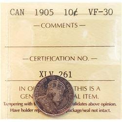 Canada 1905 Silver 10 Cents, VF-30