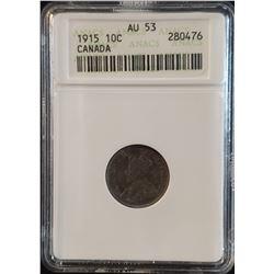 Canada 1915 Silver 10 Cents, AU-53