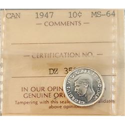 Canada 1947 Silver 10 Cents, MS-64