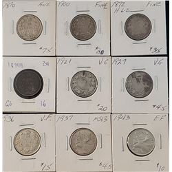Lot of 9 Canadian Silver 25 Cents