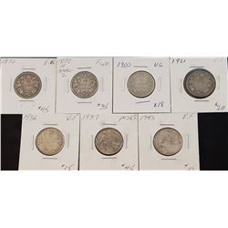 Lot of 7 Canadian Silver 25 Cents