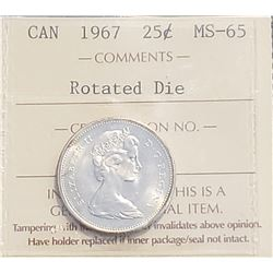 Canada 1967 Centennial Silver 25 Cents, Rotated Die, MS-65