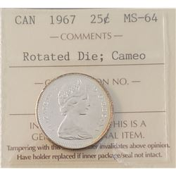 Canada 1967 Centennial Silver 25 Cents, Rotated Die, Cameo, MS-64