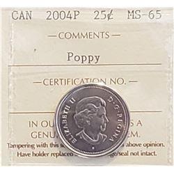 Canada 2004P Poppy 25 Cents, MS-65