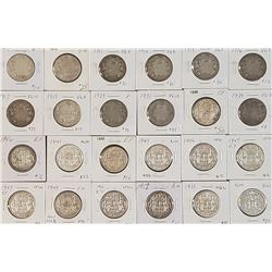 Lot of 24 Canadian Silver 50 Cents