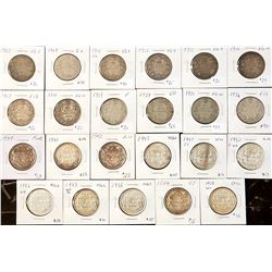 Lot of 23 Canadian Silver 50 Cents